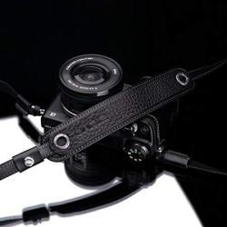 Gariz Genuine Leather Xs-chlsnbkb Camera Neck Strap For Sony Leica Fujifilm Olympus Cameras- Black With Brown Stitching