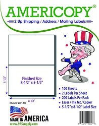 "975 Supply Americopy - Half Sheet - Shipping Labels - 5-1 2"" X 8-1 2"" - 200 Labels"