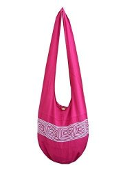 BTP Thai Cotton Embroidered Sling Crossbody Shoulder Bag Purse Hippie Hobo Gypsy Bohemian Large Pink ND7