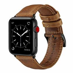 OUHENG Compatible With Apple Watch Band 42MM 44MM Genuine Leather Band Replacement Compatible With Apple Watch Series 4 Series 3