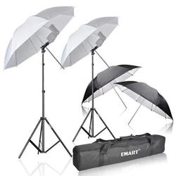 EMart Photo Studio Double Off Camera Speedlight Flash Umbrella Kit Shoemount E-type Brackets For Photography
