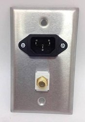Certicable Custom Stainless Steel Wall Plate 1- C14 Power 110V 15A 1- Coax