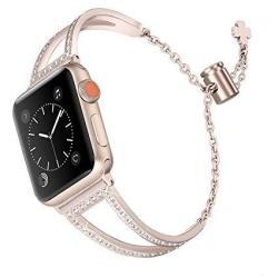 Secbolt Bling Bands Compatible Apple Watch Band 42MM 44MM Iwatch Series 4 3 2 1 Women Stainless Steel Metal Dress Jewelry Bracel