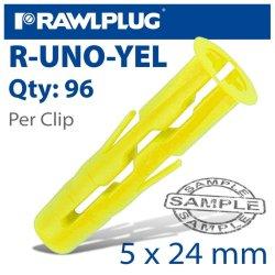 RawlPlug Uno Universal Plug Yellow 5MM 96 Per Clip