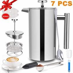French Press Coffee Maker 34 Oz French Press Stainless Steel With 2 French Press Filters Milk Frother And Coffee Scoop Camping Coffee Maker French
