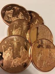 USA Christmas Nativity Scene 1 Ounce Copper Coins Six Pack