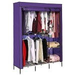 Mewalker Portable Wardrobe Double Rod Non-woven Fabric Wardrobe Freestanding Closet Storage Organizer Us Stock Purple