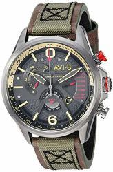 AVI-8 Men's 'hawker Harrier Ii' Quartz Stainless Steel And Leather Aviator Watch Color:green Model: AV-4056-03