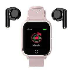 Hamtod M6 3 In 1 Tws MP3 Sport Bracelet Bluetooth Smart Watch Support Heart Rate Monitoring Sleep Monitoring Sedentary Reminder Photo Control Blood Pressure Pink