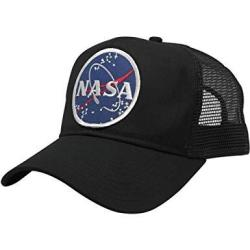 Nasa Armycrew Space Logo Embroidered Iron On Patch Snapback Cap - Mesh Back - Black
