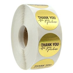 """Sblabels 1.25"""" Round Gold Foil Thank You For Your Purchase Stickers 1000 Labels Per Roll"""