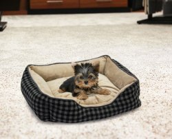 - Foxly Dog Bed - Checkerboard Grey brown