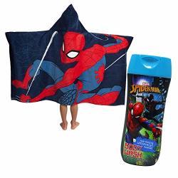 Kids Spiderman Hooded Bath Towel And Body Wash 2 Item Bundle