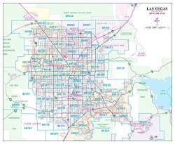 Las Vegas Arterial & Collector Zip Code Wall Map Dry Erase Laminated