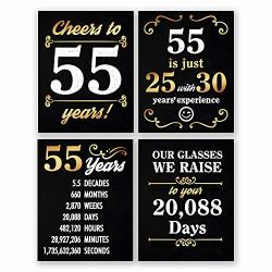 8X10 55TH Birthday Decoration - Set Of 4 Art Prints For Men And Women Cheers To 55 Years Sign Black And Gold