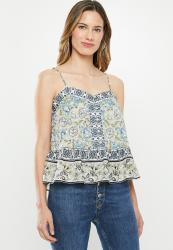 Cotton On Day Dreamer Button Front Cami - Floral neo Mint