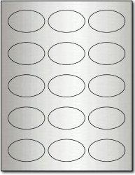 Desktop Publishing Supplies, Inc. 1 7 16 X 2 3 8 Oval Silver Foil Labels For Laser Printers - 10 Sheets 150 Labels