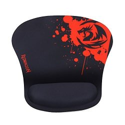 Redragon P020 Gaming Mouse Pad With Wrist Rest Support Memory Foam Wrist Cushion Black Red Thick Version Waterproof Pixel-perfect Accuracy Optimized For All Computer