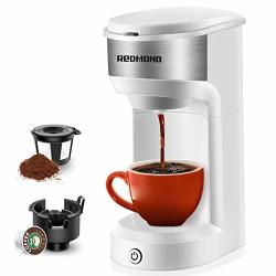 Redmond Coffee Maker Single Serve Single Cup Coffee Brewer For Pod & Coffee Grounds Up To 14 Oz One Touch Operation 90 Seconds Fast