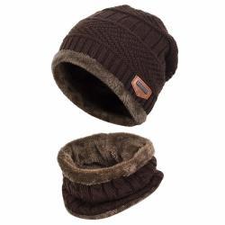 Winter Beanie Hat Ski Cap And Neck Warmer - Brown