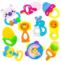 Toyerbee Baby Rattle &teething Toys With Container 10PCS Musical&grasping Toy Set In Various Shapes And Colors Early Learning Toys For Little Hands Best Gifts