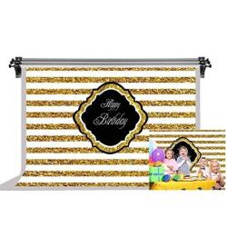 F-fun Soul Happy Birthday Backdrop Golden Stripes Background For Child Birthday Party Photography Backdrops Cotton Photo Video Studio Props 10X7FT Fsl