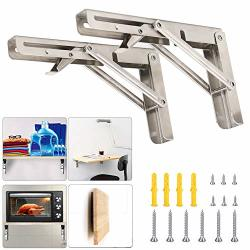 FOLDING Shelf Brackets 8 Inch With Install Screws 2PCS Heavy Duty Stainless Steel 304 Collapsible Shelf Bracket Wall Mounted Triangle Brackets For Diy Table
