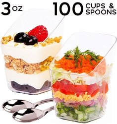 Simplehomeco  3 Oz Dessert Cups With MINI Spoons 100 Sets - Premium Quality  Clear Plastic Appetizer Bowls Small Tasting & Fruit Parfait Glasses