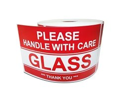 """ATZ Premium Brands 3"""" X 5"""" Glass - Please Handle With Care - Thank You Warning Shipping Labels 1 Roll 500 Stickers roll"""