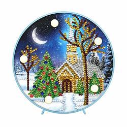 Diy Christmas Diamond Painting Lamp Light Gifts Special Shaped Diamond Painting Christmas Tree House Light Night Light Mosaic Making Art Gifts For Bedroom Home