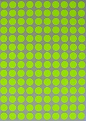 """Royal Green Round Neon Color Codes Labels 3 8"""" 0.375 Inch 10MM Circular Sticker - Yellow Fluorescent Colors Dots - Three Eights Inch Sheets 700 Pack"""