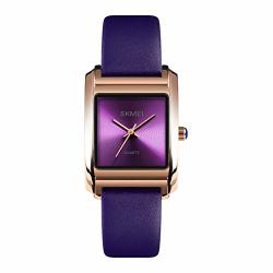 Womens Rectangle Face Watch Waterproof Leather Band Ladies Bracelet Wristwatch Purple