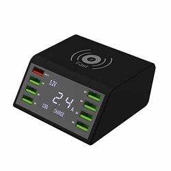 Eiowords Smart Charging LED Display USB 8PORTS Charging Station With Phone Wireless Charger For Samsung