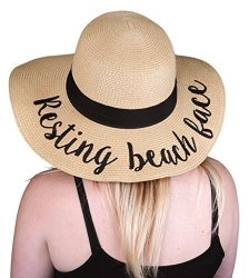 H-2017-RBF Embroidered Sun Hat - Resting Beach Face