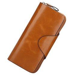 S-ZONE Women's Organizer Wallet Genuine Leather Large Trifold Clutch Purse Card Brown-rfid Blocking