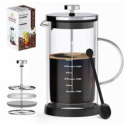 French Press Coffee Maker & Tea Maker- Double Wall Insulated Borosilicate One-piece Glass Carafe Heat Resistant W filtration System Bpa-free Durable & Easy To Clean