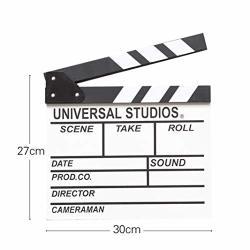 FanMuLin Wooden Director's Film Clapboard Cut Action Scene Clapper Movie Clapper Board White