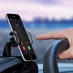 Black Honsky 360 Rotation No-Sight-Blocking Clip-on Car Phone Mount Universal Car Phone Clip Holder for Dashboard Phone Holder for Car
