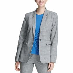 Dkny Womens Plaid Suit Seperates One-button Blazer Gray 14