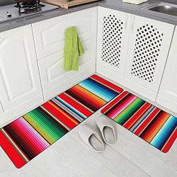 SOFT Musesh Kitchen Rugs 2 Pieces Mexican Rug Pattern Serape Stripes Detail Background With Colors Washable Non-slip Kitchen Mat Set 17X48+17X24 Rug For Kitchen