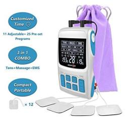 Roovjoy Tens Unit Ems Muscle Stimulator Pulse Massager 3 In 1 Combo Dual Channles 36 Modes With Electrodes Tens Machine