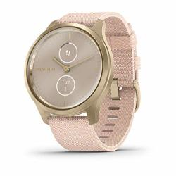 Garmin V Vomove Style Hybrid Smartwatch With Real Watch Hands And Hidden Color Touchscreen Displays Gold With Pink Woven Nylon Band