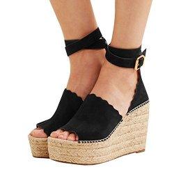 efaf8917b8486 Ermonn Womens Peep Toe Platform Wedge Sandals Espadrille Ankle Strap Mid  Heel Braided Sandals | R1635.00 | Sunglasses | PriceCheck SA