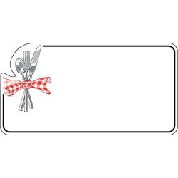 Deli Tag Write On Style With Silverware Design White Heat Resistant Merchandising Tag - 3 1 2 L X 1 3 4 H 12 BAG