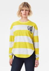 G-star Raw Striped Sweater - Milk Htr bright Yellow Cab Rugby