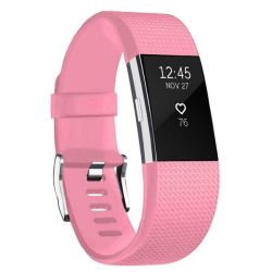 Linxure Fitbit Charge 2 Silicone Strap - Light Pink - Large