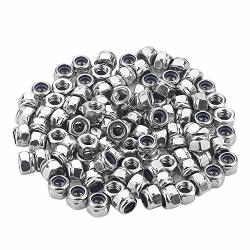 Favordrory M4 X 0.7MM 304 Stainless Steel Self-lock Nylon Inserted Hex Lock Nuts Self Clinching Nuts 100 Pcs