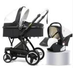 BABY Pram Stroller - Pu Leather 4 Wheel 3 In 1 Foldable Pram With Car Seat- Black And White