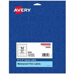 """Avery Printable Square Waterproof Labels Bath & Beauty Products Logos Qr Codes 2"""" X 2"""" 120 Film Labels"""
