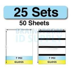 Brainstorm ID 7 Mil Gloss Full Sheet Laminate Sets - 25 Sets 50 Sheets - 25 Plain 25 With Hico Magnetic Stripes